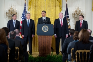 President Barack Obama announces former Senator Chuck Hagel, second from left, as his nominee for Secretary of Defense.  Photo by Matt Compton, from whitehouse.gov.